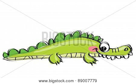 Cartoon Green Happy Crocodile With Funny Teeth As Children Drawing