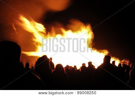 Crowd Around A Bonfire