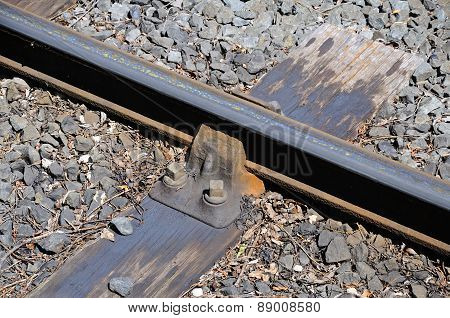 Metal railway rail on wooden sleeper.