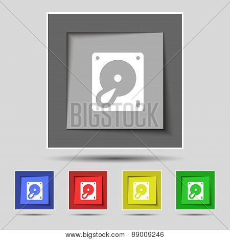 Hard Disk And Database Icon Sign On The Original Five Colored Buttons. Vector