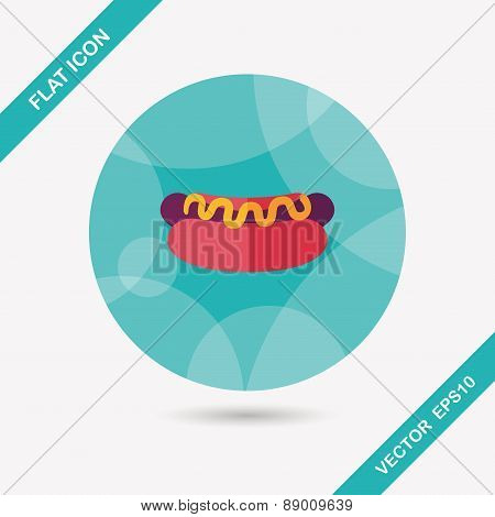 Hot Dog Flat Icon With Long Shadow,eps10