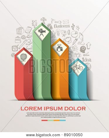Abstract arrow info graphics element. Vector illustration. can be used for workflow layout, diagram, number options, step up options, web design.