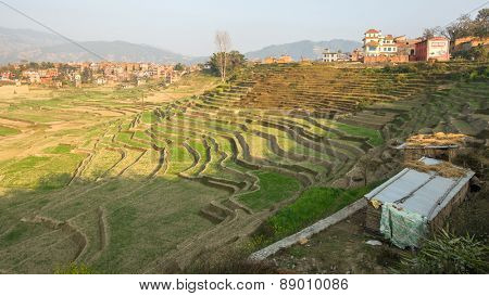 BHAKTAPUR, NEPAL - CIRCA DEC 2013: View of the fields near the town of Bhaktapur. More 100 cultural groups have created an image of Bhaktapur as Capital of Nepal Arts.