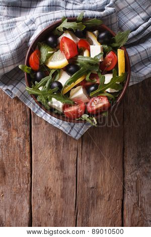 Arugula Salad With Cheese And Tomatoes, Vertical Top View