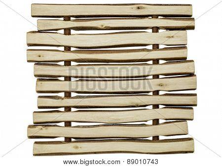 wood bakcground abstract - trivet made of wooden sticks
