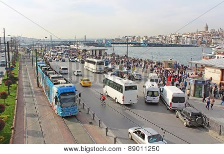 View Over Traffic Next To Eminonu Pier And Galata Bridge In Istanbul