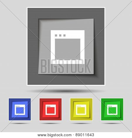 Simple Browser Window Icon Sign On The Original Five Colored Buttons. Vector