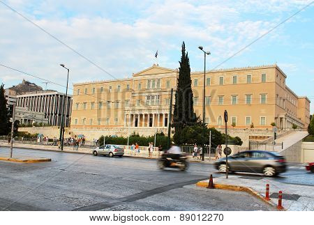 Greek Parliament And Traffic In Move In Athens, Greece
