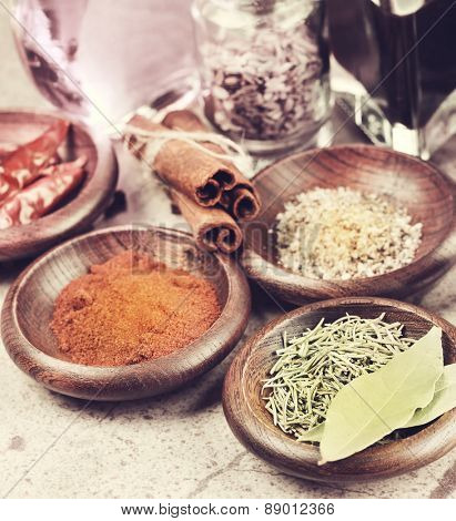 Grunge Style Of Spices Assortment