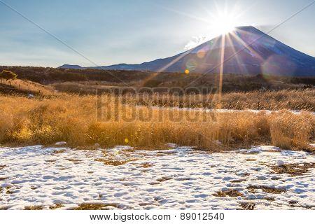 Mountain Fuji Diamond sunrise in winter