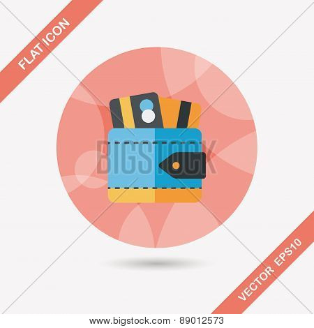 Wallet Flat Icon With Long Shadow,eps10