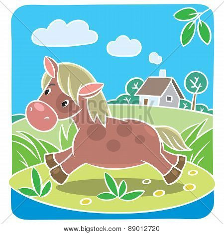 Children vector illustration of little horse or pony