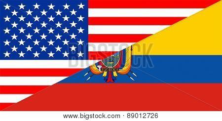 Usa Ecuador Flag