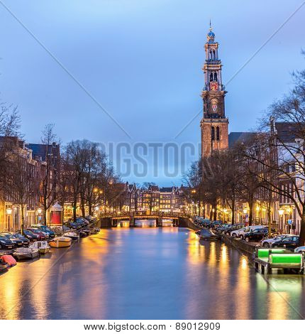 Westerkerk, West Church cathedral in Amsterdam Netherlands at dusk