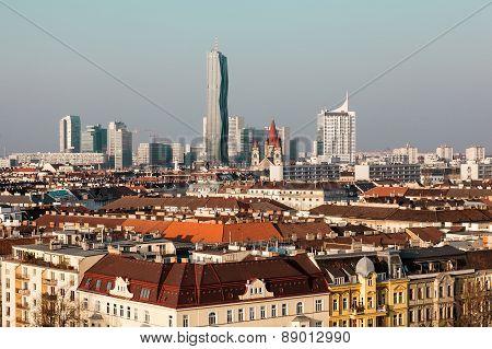 Top View Of Vienna, Modern Buildings