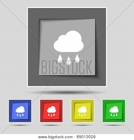 Weather Rain Icon Sign On The Original Five Colored Buttons. Vector
