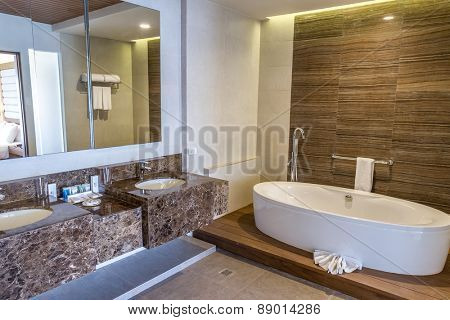 spacious bathroom in a house or hotel