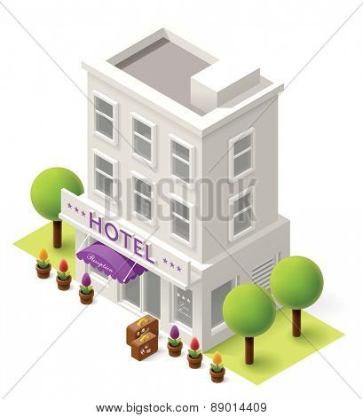 Vector isometric hotel building icon