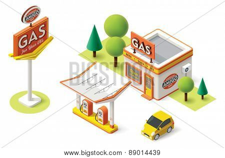 Vector isometric gas filling station building icon
