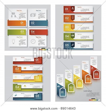 Collection of 4 design template/graphic or website layout. Vector Background.