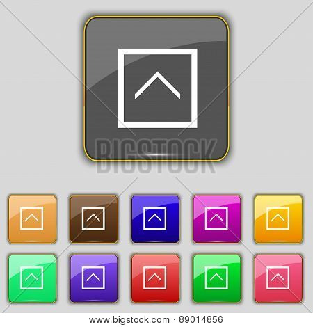 Direction Arrow Up Icon Sign. Set With Eleven Colored Buttons For Your Site. Vector