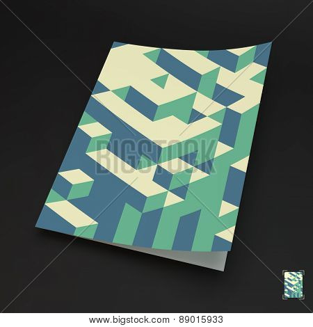 A4 business blank. 3d blocks structure background. Vector illustration. Can be used for advertising, marketing, presentation.