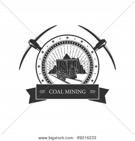 Vintage Emblem Of The Mining Industry