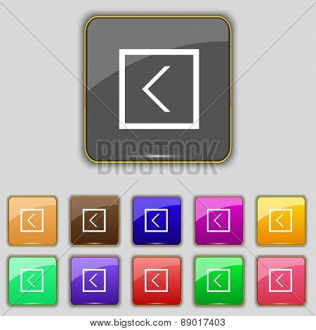 Arrow Left, Way Out Icon Sign. Set With Eleven Colored Buttons For Your Site. Vector