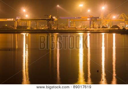 Freight Port At Night Long Exposure