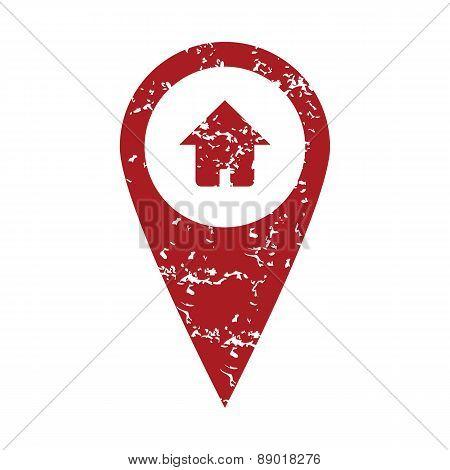 Red grunge home pointer logo