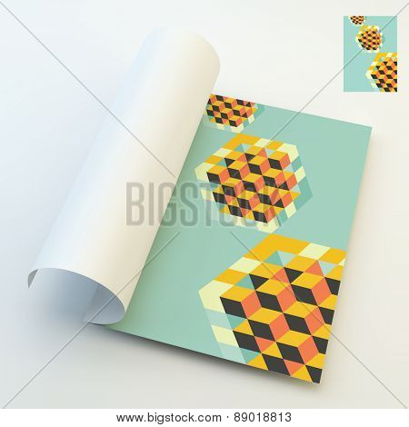 A4 business blank. Hexagon shape with cubes inscribed. 3d vector illustration. Can be used for business concepts. Template for design layout.