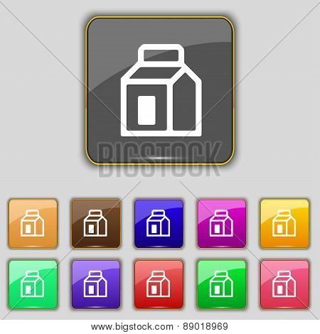 Milk, Juice, Beverages, Carton Package Icon Sign. Set With Eleven Colored Buttons For Your Site. Vec