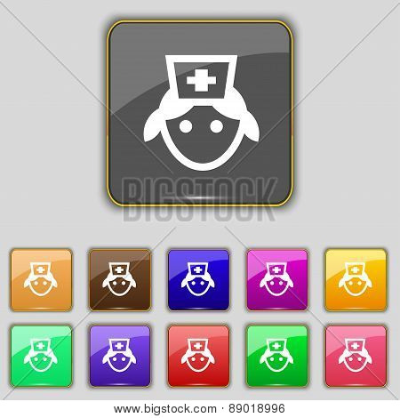 Nurse Icon Sign. Set With Eleven Colored Buttons For Your Site. Vector