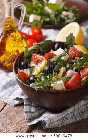 Fresh Salad With Arugula, Feta Cheese And Tomatoes, Vertical