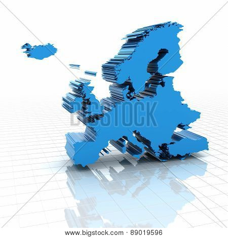 Extruded map of Europe