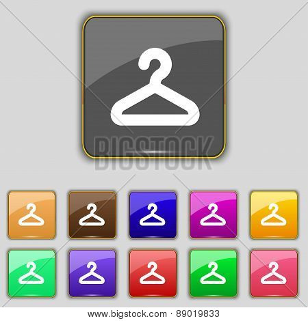 Hanger Icon Sign. Set With Eleven Colored Buttons For Your Site. Vector