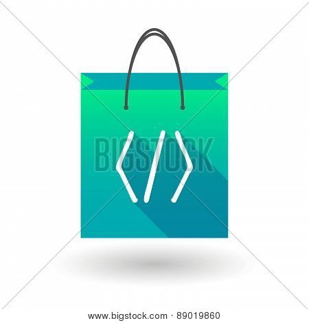 Shopping Bag Icon With A Code Sign