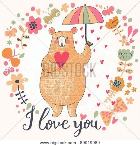 Sweet romantic card with cute bear and the rain made of hearts in flowers. Bright invitation card in vector