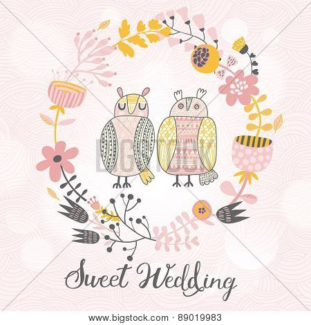 Lovely wedding card in vector. Cute owls in pastel colors. Stylish cartoon holiday card