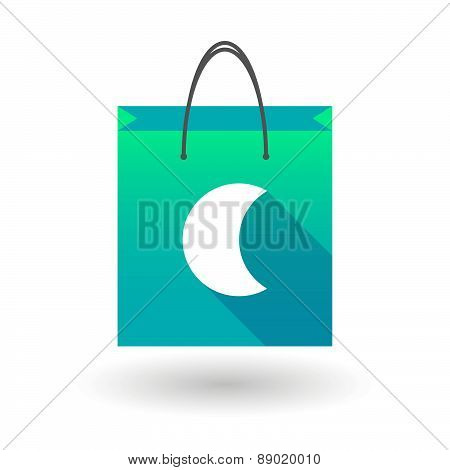 Shopping Bag Icon With A Moon