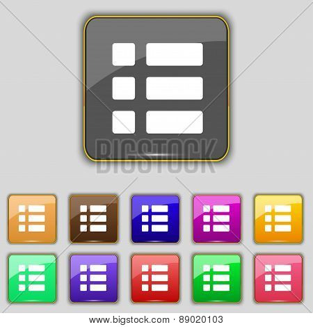 List Menu, Content View Options Icon Sign. Set With Eleven Colored Buttons For Your Site. Vector