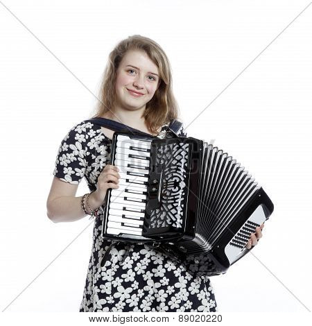 Teenage Girl In Studio With Accordion
