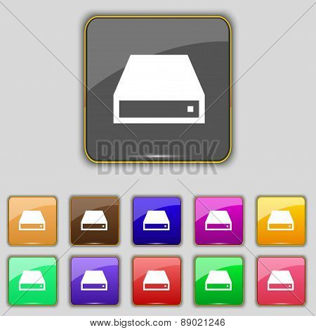 Cd-rom Icon Sign. Set With Eleven Colored Buttons For Your Site. Vector