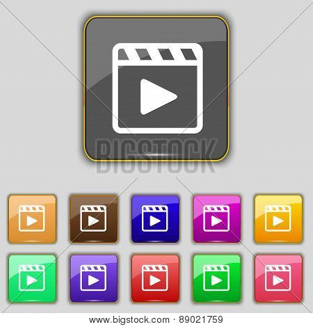 Play Video Icon Sign. Set With Eleven Colored Buttons For Your Site. Vector