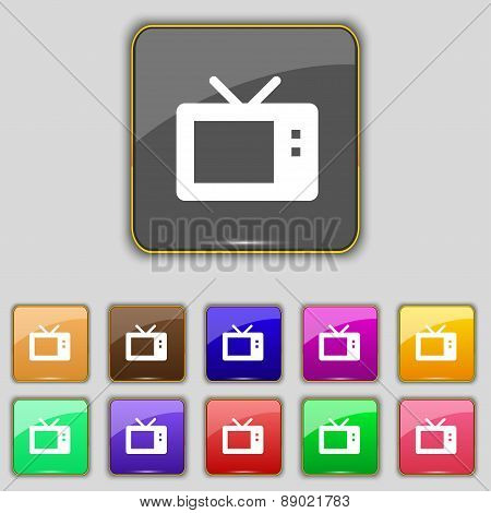 Retro Tv Mode Icon Sign. Set With Eleven Colored Buttons For Your Site. Vector