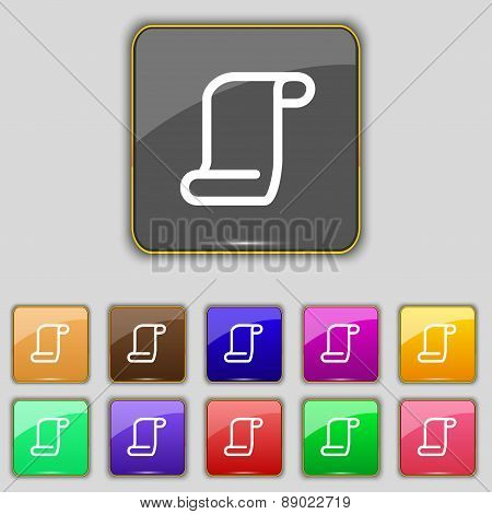 Paper Scroll Icon Sign. Set With Eleven Colored Buttons For Your Site. Vector