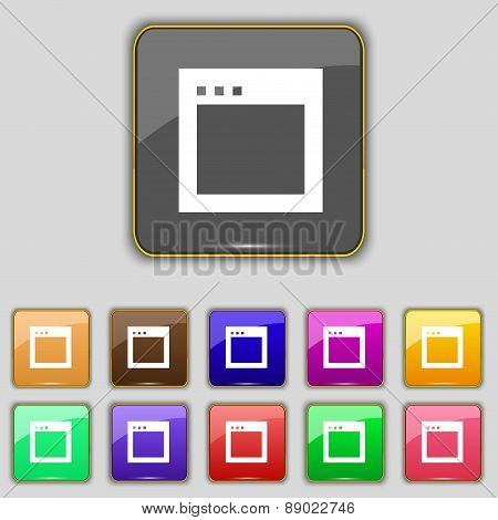 Simple Browser Window Icon Sign. Set With Eleven Colored Buttons For Your Site. Vector
