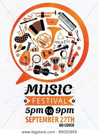 Music festival. Vector music flyer.