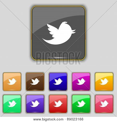 Social Media, Messages Icon Sign. Set With Eleven Colored Buttons For Your Site. Vec