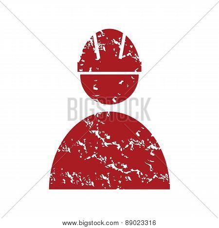 Red grunge working logo